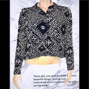 H&M • Bandana Print Button-Down Blouse• size (14)